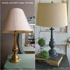 Saving ugly lamps is as simple as a couple coats of Chalk Paint® decorative paint by Annie Sloan. Shiny brass lamps from the & . Decor, Small Lamp Shades, Repurposed Lamp, Painted Furniture, Lamp, Ceiling Lamp Shades, Diy Shades, Farmhouse Lamps, Painting Lamps