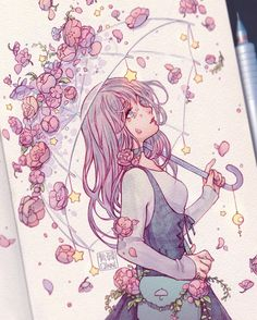 """Artists are paying tribute to beloved artist Qing """"Qinni"""" Han, who has died after a battle with cancer. Art Drawings Sketches, Kawaii Drawings, Cute Drawings, Cartoon Kunst, Cartoon Art, Aesthetic Drawing, Aesthetic Art, Arte Copic, Qinni"""