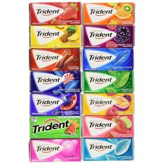 Trident Sugar Free Chewing Gums Pack of 10 (Assorted Flavors) Assortment of 10 Flavors of Trident Gum Long Lasting Flavors Sugar Free Total of 176 Sticks of Gum Great Variety to Share With Friends and Family. Extra Gum Flavors, Sugar Free Gum, Easter Snacks, Unicorn Foods, Cute Snacks, Sour Candy, Food Packaging Design, Weird Food, Chewing Gum