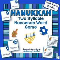 Combine the Hanukkah theme with word work! In order to proceed on the game board, students must read one of the 2-syllable nonsense words. Set contains all 6 syllable types, along with brain break cards to add to the fun and learning!