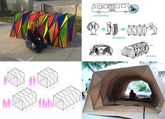 Foldable cardboard shelters, water/flame resistant, recyclable too, by Cardborigami. Patented design.