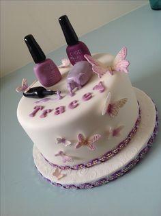Nail Polish & Butterlies cake