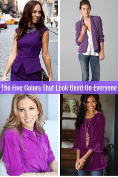 The Five Colors That Look Good on Everyone Purple Tabitha Dumas Phoenix Image Consultant Over 60 Fashion, Daily Fashion, Fashion Capsule, Fashion Outfits, Women's Fashion, Petite Fashion, Hot Pink Blouses, Color Combinations For Clothes, Parisian Chic Style