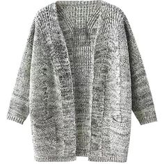 grey open front knit cardigan (105 RON) ❤ liked on Polyvore featuring tops, cardigans, outerwear, sweaters, gray top, open front cardigan, grey top, open front tops and grey cardigan
