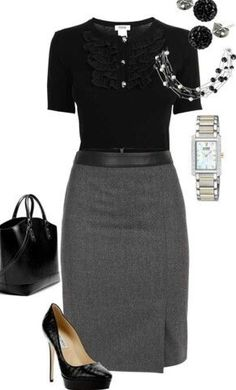 Business meeting or interview... Chic work outfit.