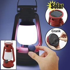 Emergency lantern. Perfect for the home, car, boat or campground, this portable, solar-powered crank lantern ensures that you'll never be without light when you need it. Just a minute of easy cranking provides up to 30 minutes of bright LED light, or let the solar panel do the work.