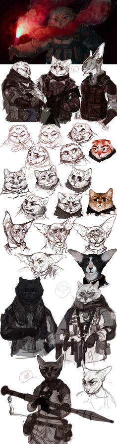 Tactic CATs by REYKAT - Tap the link now to see all of our cool cat collections! Character Concept, Character Art, Concept Art, Character Illustration, Illustration Art, Illustrations, Art Du Monde, Anthro Furry, Anthro Cat