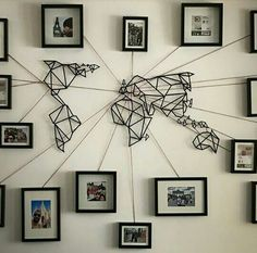 Metallic world map with collage of photos
