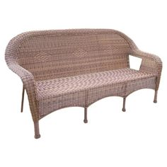 Featuring a woven design and rounded silhouette, this classic indoor/outdoor bench brings timeless style to your sunroom or patio.  ...