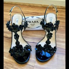 Prada heels Prada vero cuoio Slingback with Floral  Accents Heels! Made in Italy! Comes with Prada heel dust bags! Preloved ! Worn gently & a slight dusty! They need a little TLC cleaning! Women's size US 10 EUR 40 Prada Shoes Heels