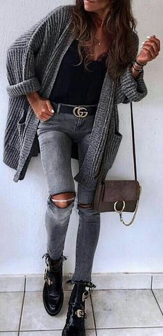 #winter #outfits  gray knitted long cardigan with distressed jeans, boots, and bag outfit. Pic by @london_style_blog.