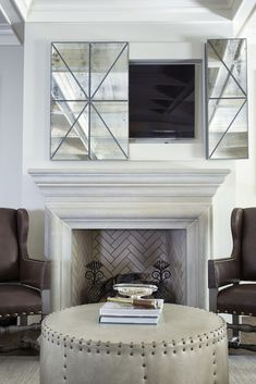 Hidden Tv Above Fireplace Doubtful 1500 Trend Home Design Decorating Ideas 36 Shabby Chic Living Room, Living Room Tv, Tv On Wall Ideas Living Room, Hide Tv Over Fireplace, Linear Fireplace, Tv Fireplace, Tv Above Mantle, Fireplace Ideas, Mirror Above Fireplace