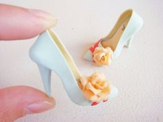Miniature High Heel Shoes Handmade from Polymer Clay by YinyingO ♥ love these colors together!