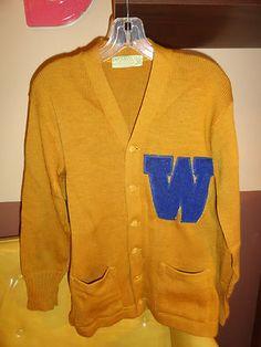VTG 1950s Retro High School College Letterman Sweater IMPERIAL KNITTING ART KOTE