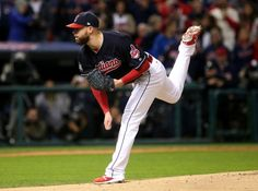 Cleveland Indians Corey Kluber delivers a pitch against Chicago in game one of the World Series, Tuesday, October 25, 2016.  Indians win 6-0 (Thomas Ondrey / The Plain Dealer)