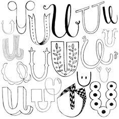 Verschiedene Versionen um den Buchstaben U zu lettern