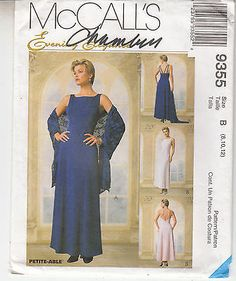 Bridal Bridesmaid Dress 2 Lengths Scarf McCalls Sewing Pattern 9355 8-12 Uncut