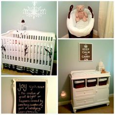 Great website for nursery ideas, I especially like the chalkboard tray on the wall.