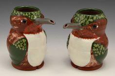 Rufous Hummingbird Oil Pourers. 2018 Gillian McMillan. Wheelthrown earthenware. Earthenware, Stoneware, Hummingbird, Jar, Home Decor, Decoration Home, Room Decor, Hummingbirds, Home Interior Design