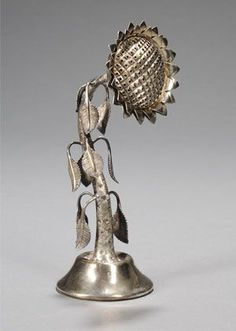 Russian Silver Sunflower-form Spice Container