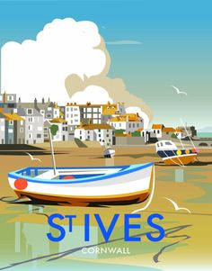 vintage travel poster for St Ives Harbour, Cornwall Old Posters, Art Deco Posters, Illustrations And Posters, Retro Poster, Retro Print, Poster Vintage, Pub Vintage, Vintage Signs, Vintage Style