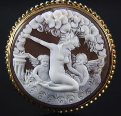 14k Large Romantic Cameo of Naked Maiden Surrounded  by Cherubs and Flowers