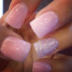 Cute accent sparkly nail over the perfect color of baby pink! This accent nail would look good with absolutley any color though.