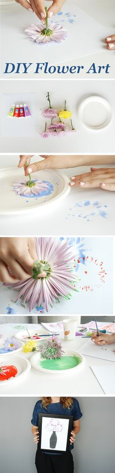 Be the envy of all your Pinterest followers!  All you need is paint, flowers, and watercolor paper to create fabulous DIY flower art.