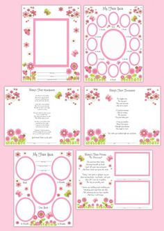 Butterfly Premade Scrapbook Pages Baby Girl Wall Art Prints #decampstudios