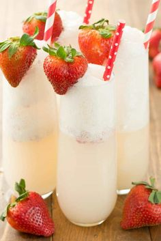 Strawberry Shortcake Mimosa - just three ingredients to the prettiest mimosa recipe ever! This champagne cocktail is perfect for brunch! The recipe is here!
