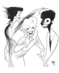"Chita Rivera, Dorothy Loudon, and Leslie Uggams in ""Jerry's Girls"" by Al Hirschfeld"