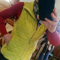 Vest Chartreuse green zips up & down,  2 zip pockets,  fleece lined collar and side panels. Just a little big for me. L L. Bean Jackets & Coats Vests