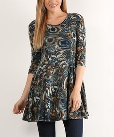 Teal Abstract Pleat Scoop Neck Tunic