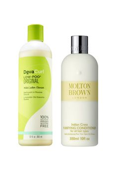 """When it comes to shampoo & conditioner, don't feel like you can't mix and match! ELLE.com photo editor Mariel Tyler says, """"I tend to use a cocktail of products on my hair depending upon how it's acting and this has become my favorite combo! It took me a minute to get used to the low lather part of DevaCurl's Low-Poo, but it doesn't dry out my curls like most shampoos. The Molton Brown conditioner smells so good. Despite being lightweight, it really gets thru my toughest of tangles, which…"""