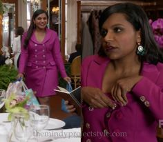 Mindy's (custom) pink coat dress has pretty sparkly buttons! It's not Danny's fault he thought he was meant to undo them. /// Worn with Josie by Natori bra