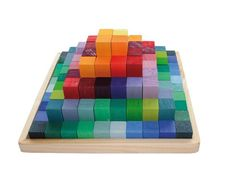 Grimm's - Wooden Construction Set Pyramid Blocks Small  100 rainbow-colored blocks in 20 different colours.