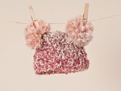 READY to SHIP Crocheted Baby Pink Pom Pom by thewhimsicalelephant, $25.00