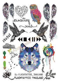 A6080-208 Big Black tatuagem Taty Body Art Temporary Tattoo Stickers Gradient Colorful Wolf Owl Birds Glitter Tatoo Sticker