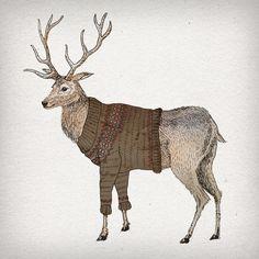 Stag Art Print, Hand drawn, Deer