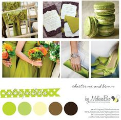 Chartreuse and Brown wedding color pallette byMelissaBee
