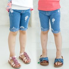 >> Click to Buy << kz-3999  2017 summer Korean version of the new hole section Girls baby children jeans pants 5 minutes of Jeans #Affiliate