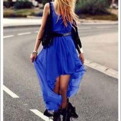 H&M Blue Scoopneck Hilo Dress W/ Pleats No Trades