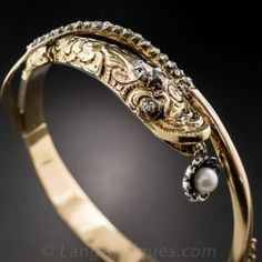 Antique Rose-Cut Diamond and Pearl Snake Bangle Bracelet