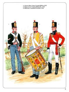 Left to right - Chosen Man, Upper Canada Militia, Major, Lower… Canadian Army, Canadian History, British Army, American Indian Wars, Independence War, Osprey Publishing, British Uniforms, American Revolution, French Revolution