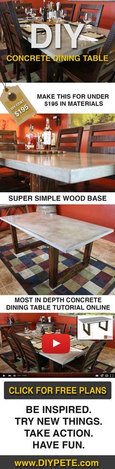 53 new ideas concrete patio furniture diy dining tables Table Beton, Concrete Dining Table, Diy Dining Table, Concrete Furniture, Concrete Projects, Concrete Design, Concrete Patio, Patio Table, Wood Tables