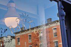 Bakeri, Williamsburg Brooklyn Glass Signage, Williamsburg Brooklyn, Star Sky, Book Worms, Neon Signs