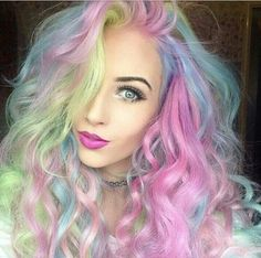Hair & MakeUp Rainbow Hair Color Ideas for 2016 Replacement Windows Information Whether you want to Hair Color 2016, Bold Hair Color, Nail Colour, Hair 2016, Diy Hairstyles, Pretty Hairstyles, Mermaid Hairstyles, Scene Hairstyles, Latest Hairstyles