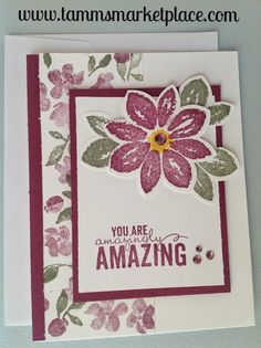 """The purple-mauve and green colors on this handmade stamped and jeweled card blend perfectly together as it sends a message of """"You are amazingly Amazing"""". One l"""