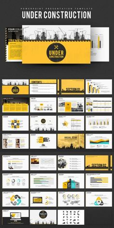 This Under Construction PowerPoint Template is designed to cover presentations for topics related to construction. Company Profile Template, Company Profile Design, Magazine Ideas, Graphic Design Brochure, Timeline Design, Graph Design, Brochure Inspiration, Presentation Layout, Newsletter Design