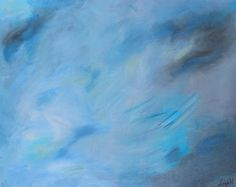 Large blue, gray and green contemporary abstract art painting